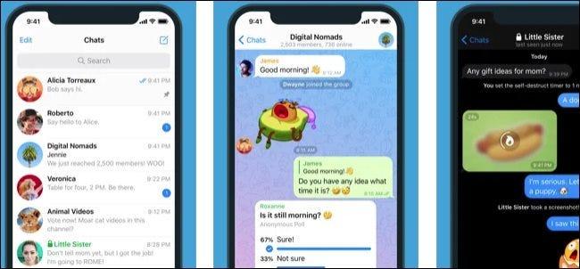 تطبيق Telegram على iPhone.