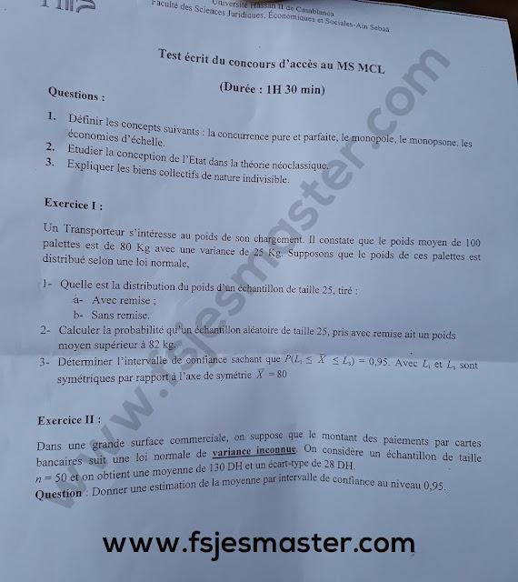 Exemple Concours Master Management de La Chaine Logistique 2019-2020 - Fsjes Ain Sebaa