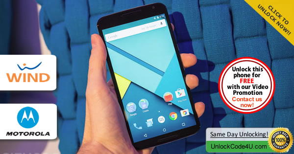Factory Unlock Code Motorola Nexus 6 from Wind