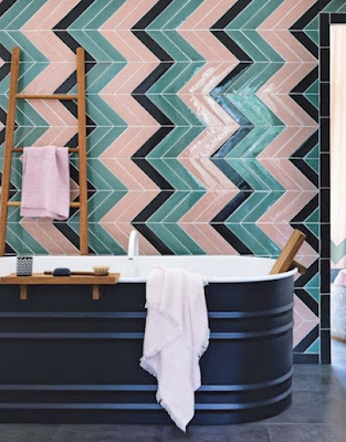 Unique bathroom decor ideas with multi colored tiles chevron walls