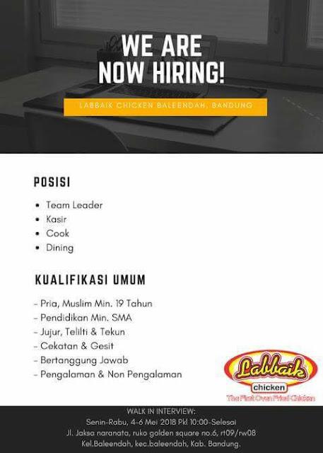 Lowongan Kerja Labbaik Chicken Bandung