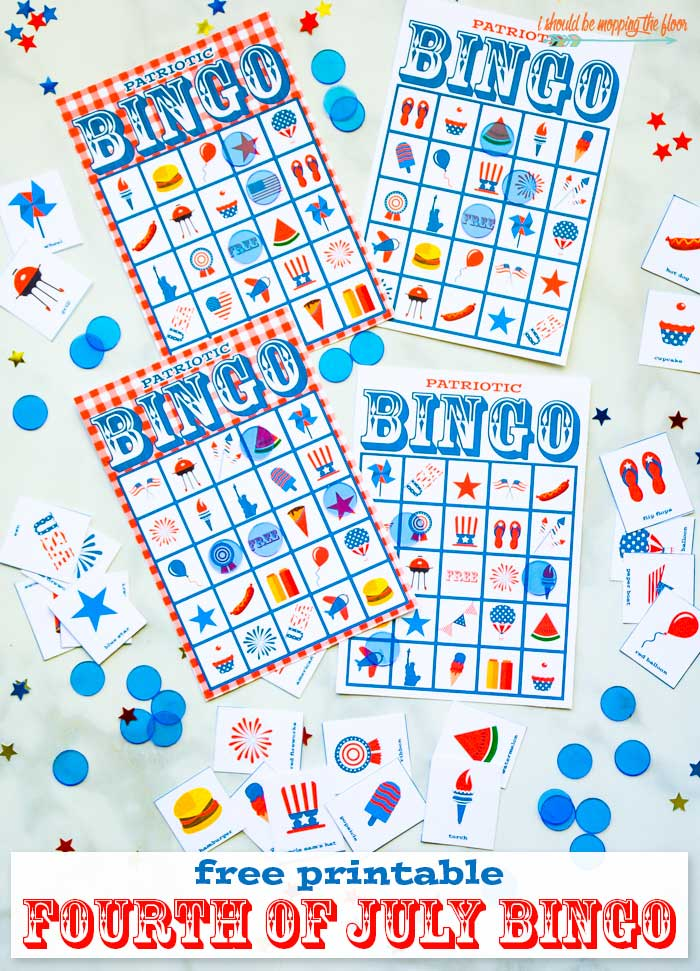 graphic regarding Bingo Chips Printable named Cost-free 4th of July Bingo Printable Mounted i should really be mopping