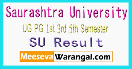 Saurashtra University UG PG 1st 3rd 5th Semester Exam Result 2017-18