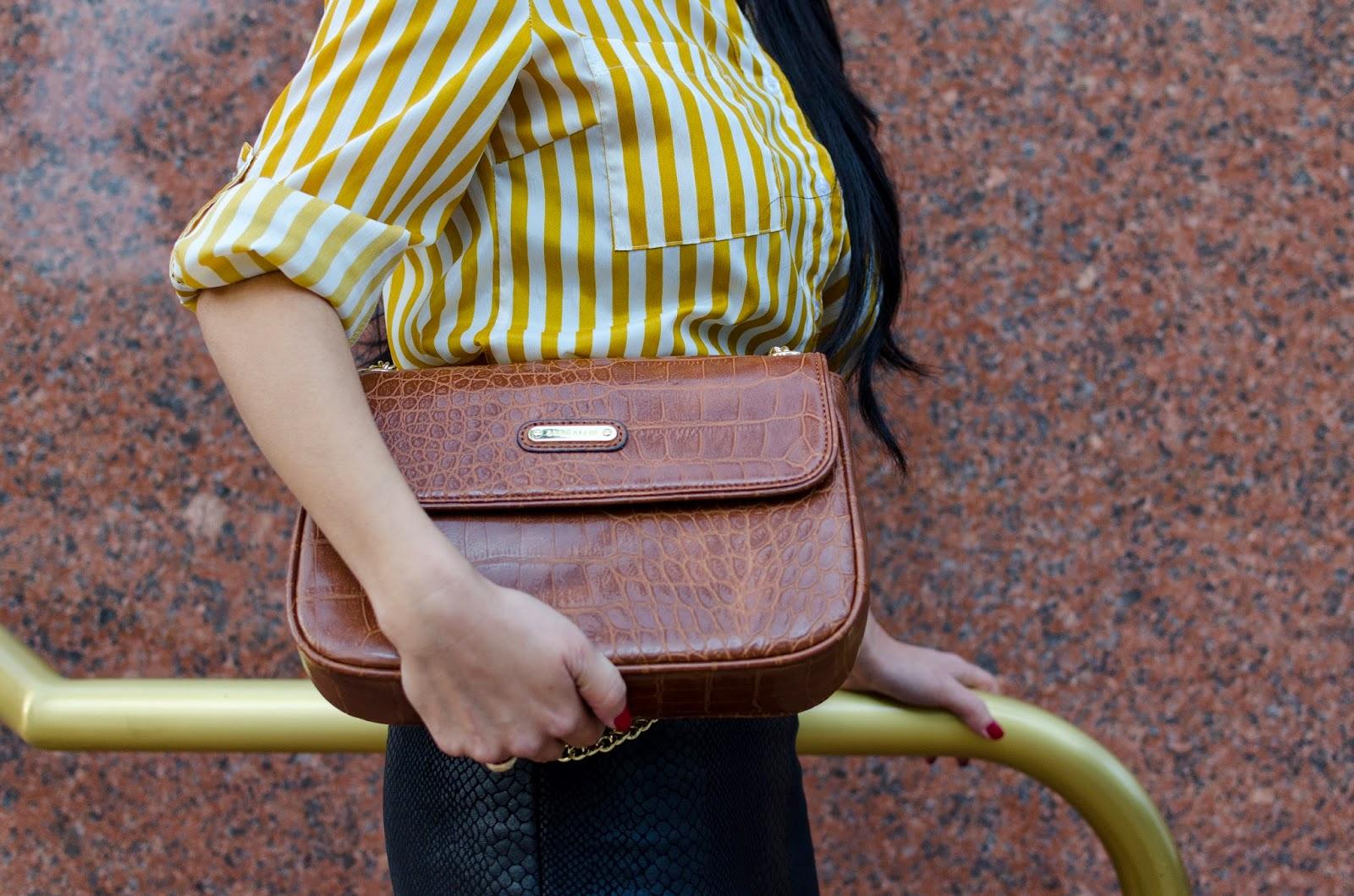 Striped Gold and White Shirt Anne Klein Brown Handbag Olivaceous Black Python Print Pencil Skirt