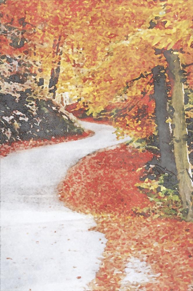 水彩画の秋の風景