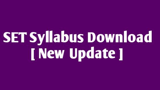 SET Syllabus Download 2019