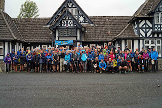 All the walkers and helpers outside the village hall for the 2018 Tour des Marches