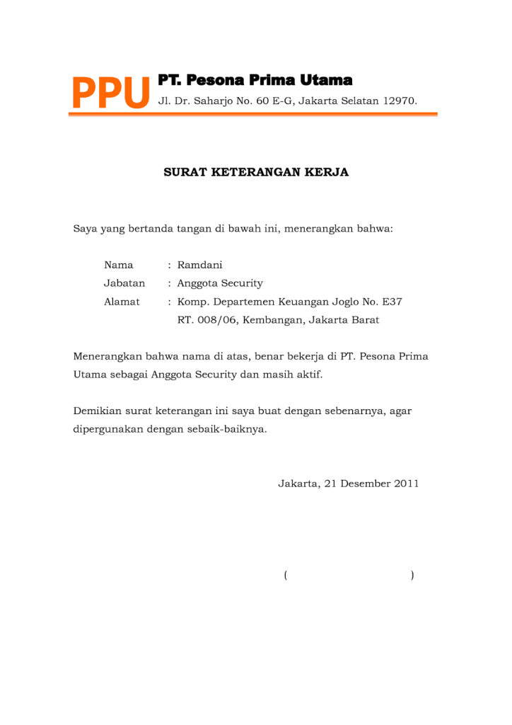 surat keterangan kerjadoc