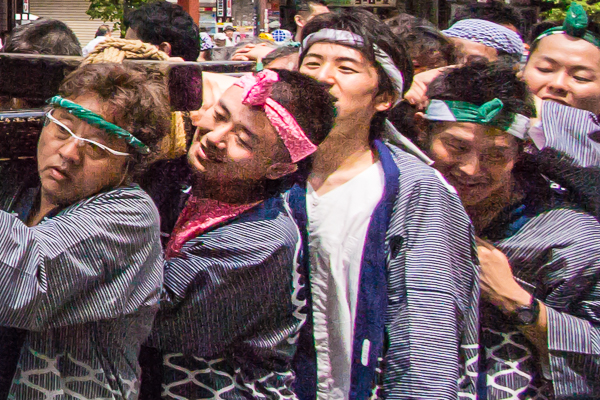 Close-up of shrine bearers at Sanja Matsuri 2016, Tokyo.