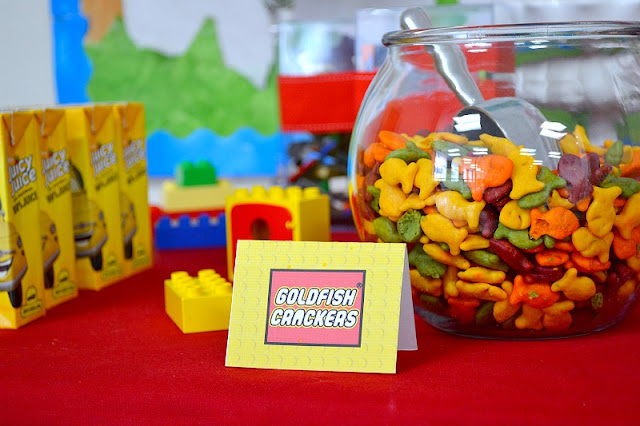 LEGO party dessert table snacks