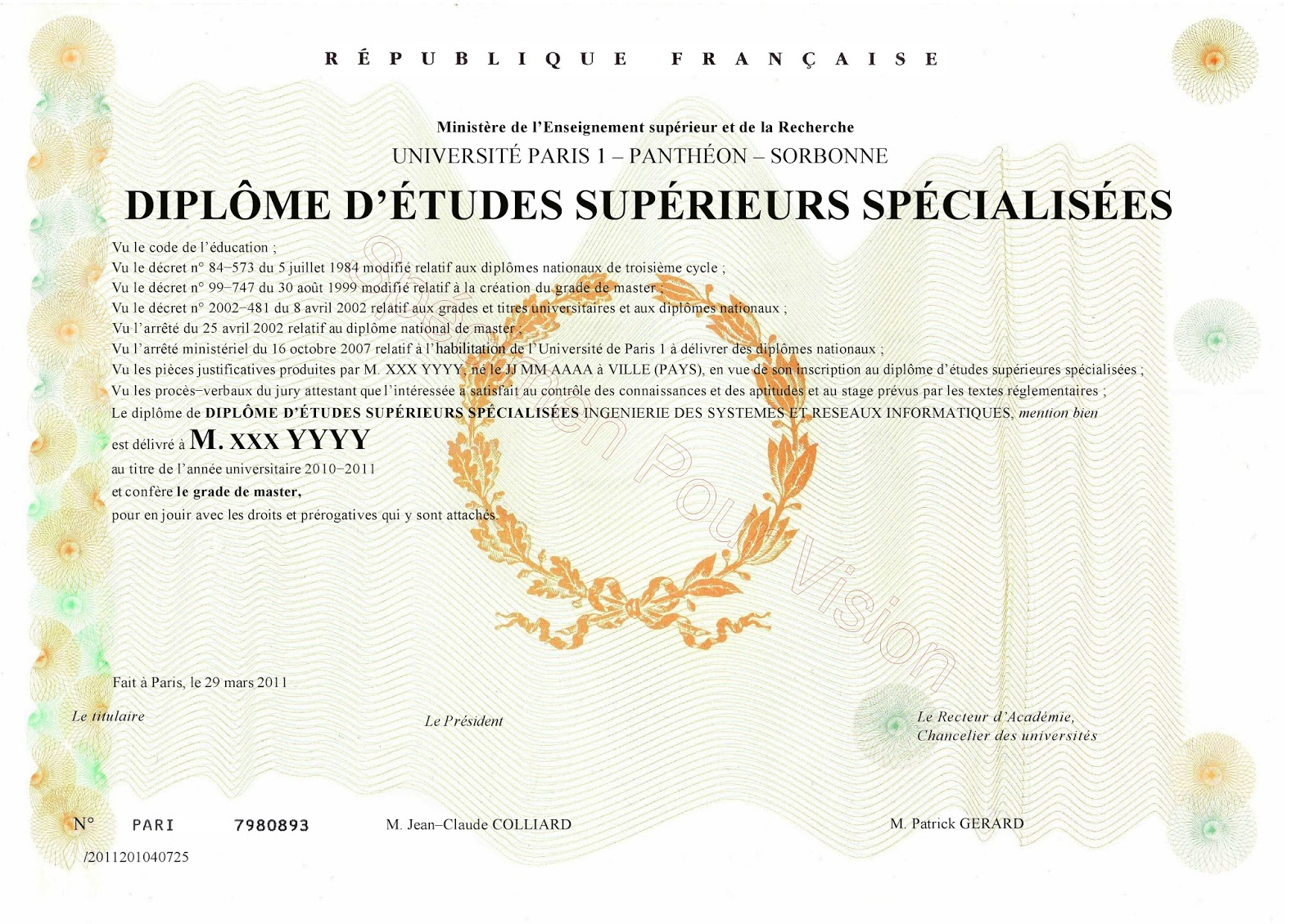 diplome universitaire paris 1