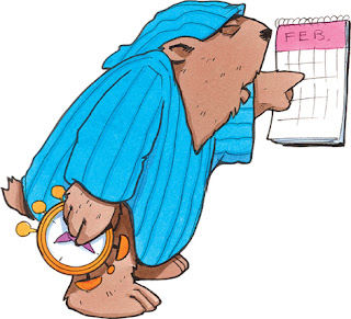 Clipart image of a sleepy groundhog in nightclothes looking at a calendar for February