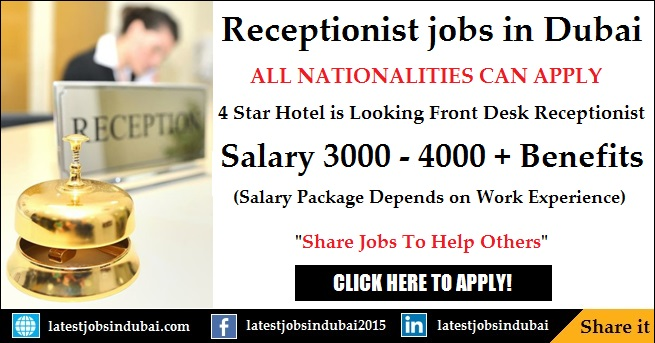 Front Office Receptionist jobs in Dubai Hotels