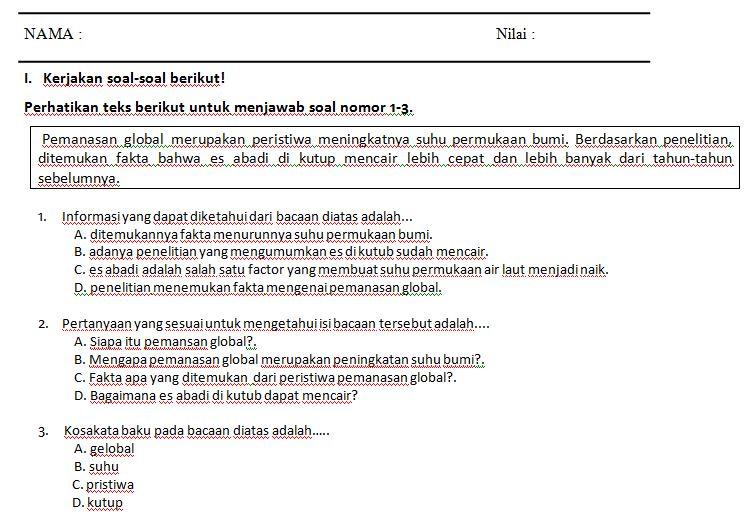 Kumpulan Soal SD Kelas 5 Semester 1 Tema 1 Kurikulum 2013 Format Microsoft Word