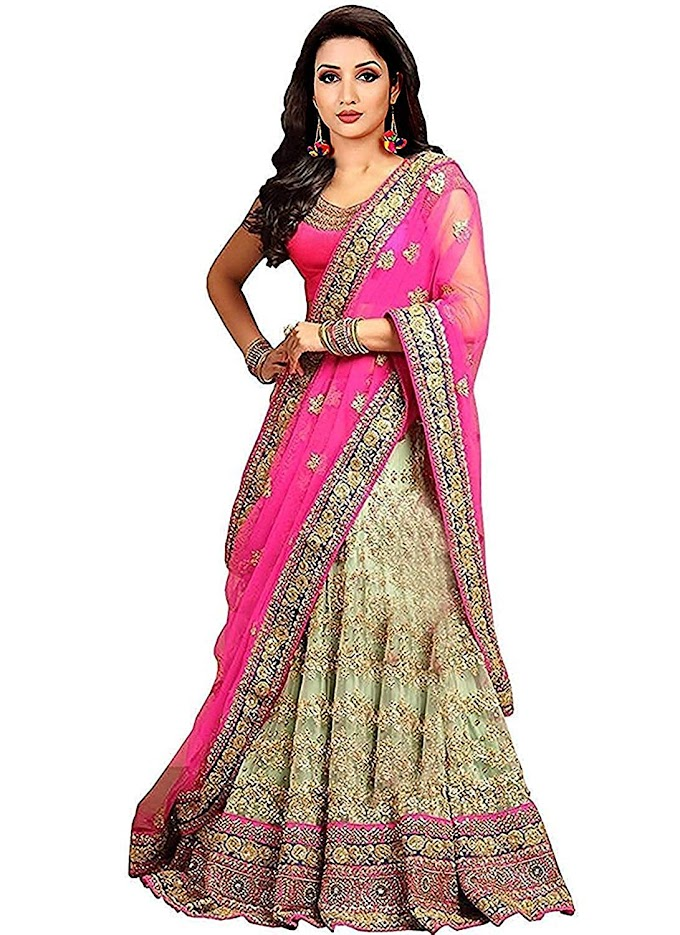 Women's Pink Color Embroidered Lehenga Choli (Pink_Free Size)
