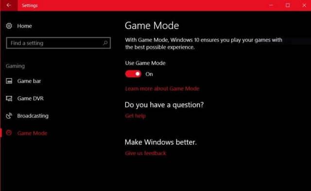 تعرف علي وضع الألعاب Gaming Mode وكيفية تمكينه على ويندوز 10
