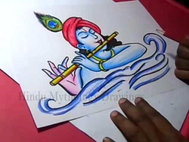 Hindu Mythology Drawings Lord Flute Krishna Drawing