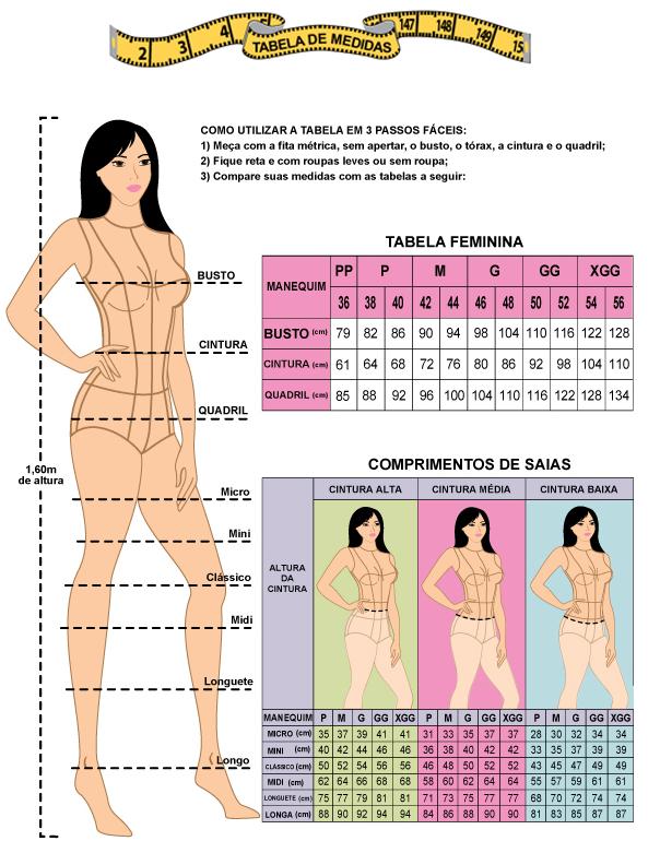 Resultado de imagem para tabela de medidas