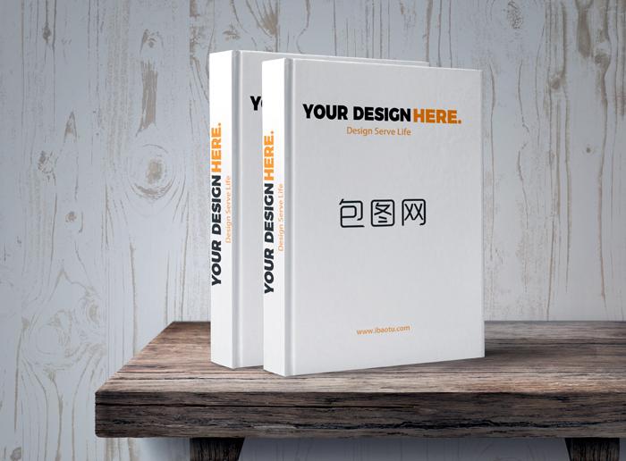 Wood Grain Background Desktop Vertical Placement Book Mockup Design