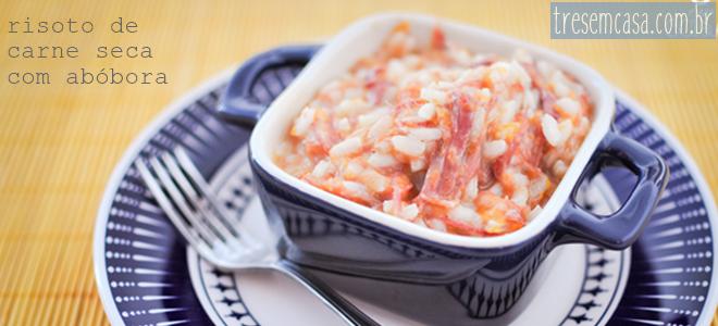 receita de risoto de carne seca com abóbora