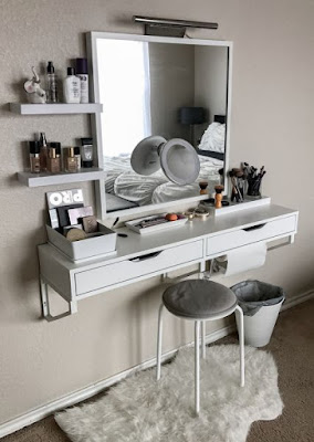wall mounted white dressing table design ideas 2019