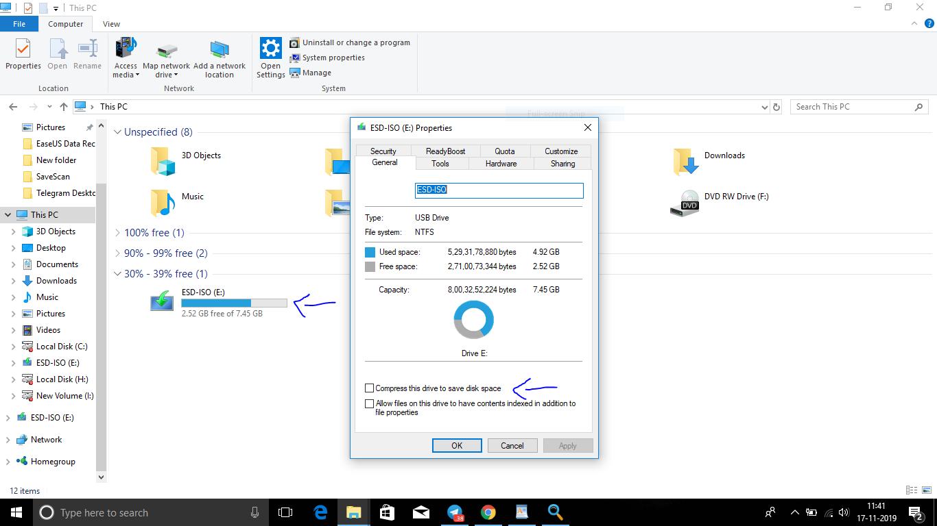 flash drive before file compression