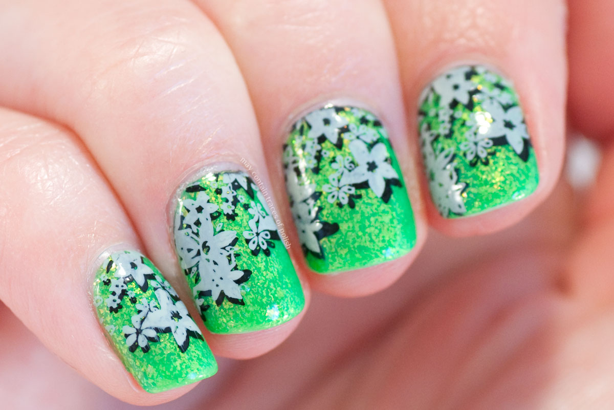 Double Stamped Floral Nail Art with Smitten Polish Terra Opal and MoYou Pro plate 04