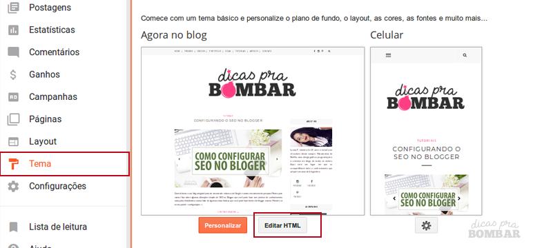 Editando HTML do seu Layout para adicionar tag do Pinterest