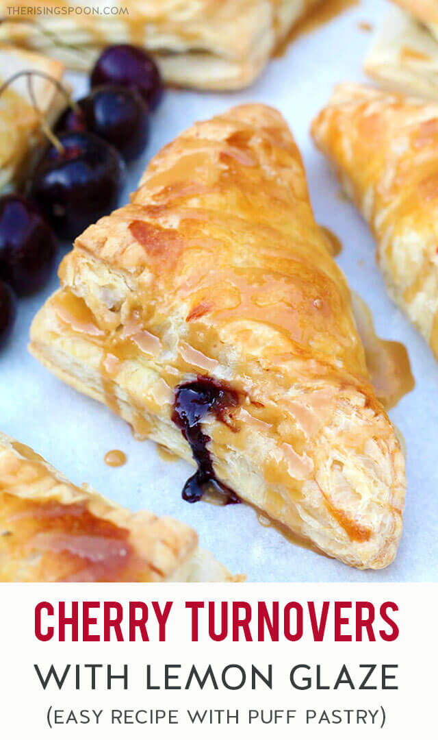 An easy recipe for cherry turnovers with a flaky, buttery puff pastry crust and a simple homemade cherry pie filling. To make it extra special, drizzle the tops with a quick lemon glaze for a slightly sweet & citrusy finish.