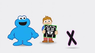 Animated Cookie Monster sings X X-Ray song. Sesame Street Alphabet Songs