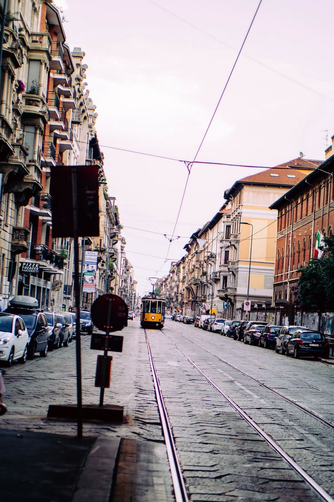Milan Italy Street and Tram