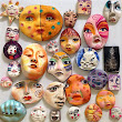 Clay faces for dolls, craft and mosaics