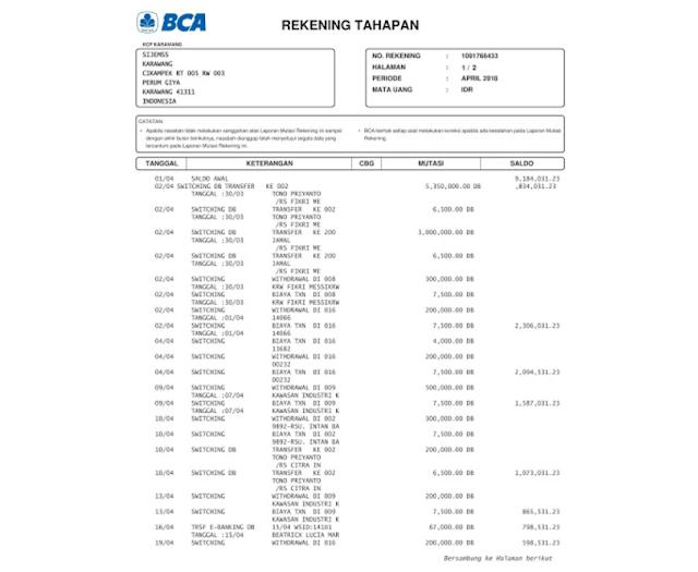 Contoh Rekening Koran BCA dan Cara Memperolehnya