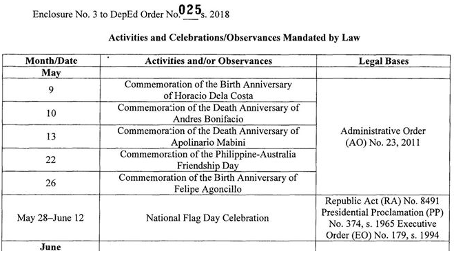 deped calendar of activities school year 2018 2019