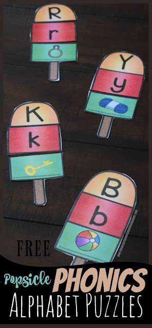 FREE Popsicle Phonics Alphabet Puzzles - these are such a cute, fun, hands on alphabet letter activity for helping preschool, prek, kindergarten, and first grade kids practice identifying beginning letter sounds and matching uppercase and lowercase letters. This is perfect for centers, summer practice, homeschool, and abc games. #phonics #alphabet #kindergarten
