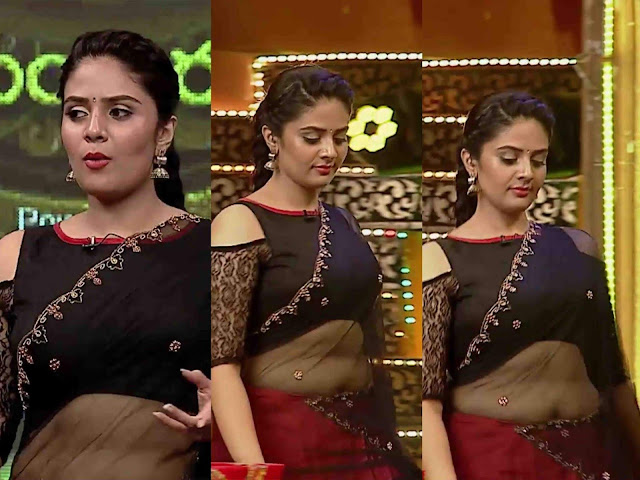 Anchor Sreemukhi photos gallery - Beautiful and spicy gallery of Sreemukhi. Anchor Sreemukhi Navel Show in saree pics.