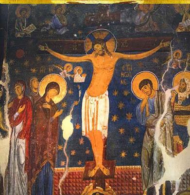 Σταύρωση. Τοιχογραφία, 1208-9. Studenica, ναός Παναγίας Ευεργέτιδας στη μονή Στουντένιτσα