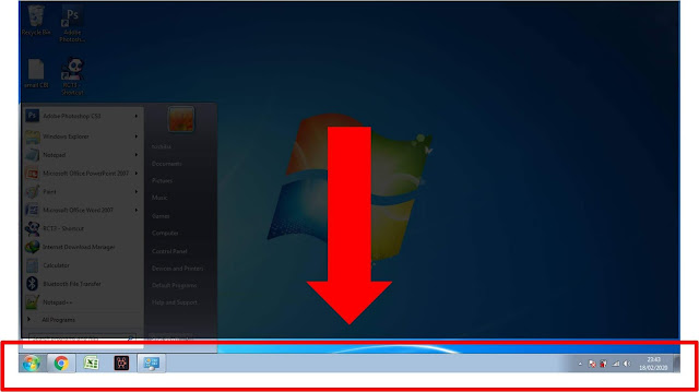 menu bar bawah taskbar windows 7