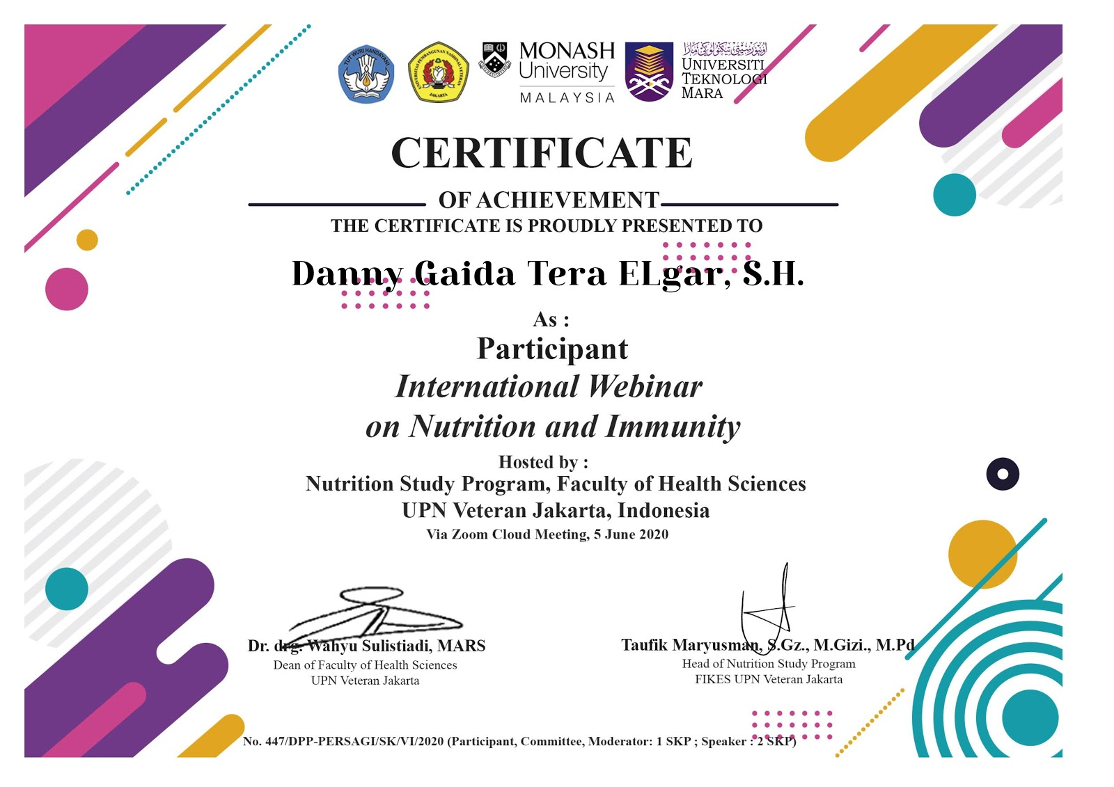 Certificate of Achievement International Webinar on Nutrition and Immunity | Fakultas Ilmu Kesehatan Universitas Pembangunan Nasional (UPN) Veteran Jakarta