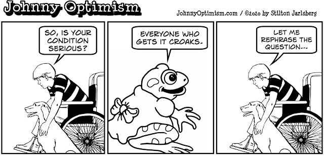 johnny optimism, medical, humor, sick, jokes, boy, wheelchair, doctors, hospital, stilton jarlsberg, frog girl, croak