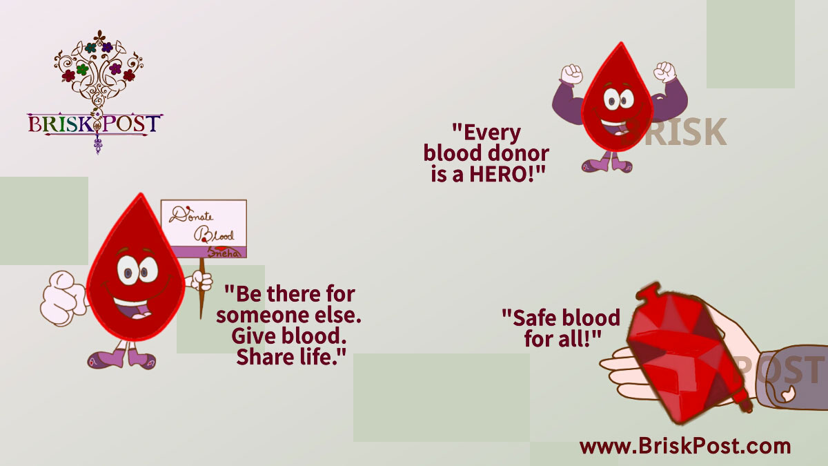World Blood Donor Day: Stimulating themes and slogans revisited with motivational blood drop cartoon illustration
