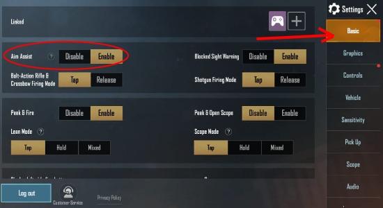 PUBG Mobile Aim assist settings