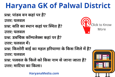 Haryana GK Question Answer in Hindi For Palwal District