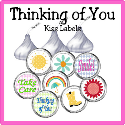 Make someone's day with these sweet Thinking of You printable kiss labels.  With a bag of sweet chocolate candies and a smile, you can brighten anyone's day.