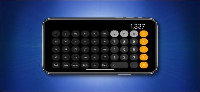 جهاز Apple iPhone يقوم بتشغيل تطبيق الحاسبة في الوضع العلمي الأفقي.