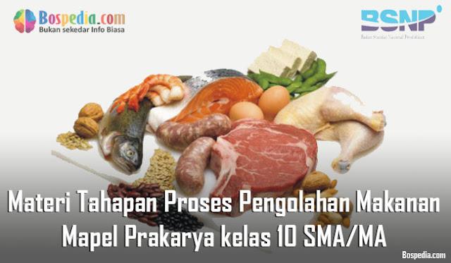 Materi Tahapan Proses Pengolahan Makanan Mapel Prakarya kelas 10 SMA/MA