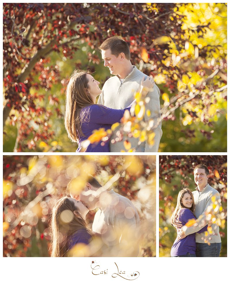 romatic engagement couple pictures in autumn with colorful trees a bridge and night time photography