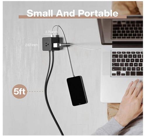 E-Kong Desktop Small Power Strip with 3 USB Ports