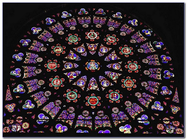 Notre Dame cathedral Stained GLASS Rose WINDOW