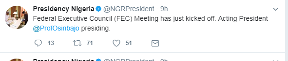 FEC Meeting, Acting president, News, Yemi Osinbajo, Abuja, Muhammadu Buhari, News,